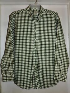 L.L. Bean Men's Long Sleeve Button Front Shirt-Green Plaid Size Large Excellent