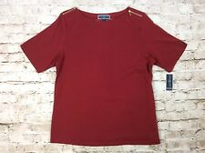 Karen Scott 1x Top Red Boat Neck Zipper Detail Short Sleeve Plus Size Womens New