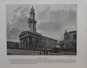 1896 Londres Estampado + Texto St. Pancras ' Iglesia