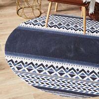 Jasmin Geometrical Design Blue Modern Floor Round Rug - 3 Sizes *FREE DELIVERY**