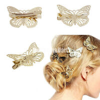 2pcs Fashion Women Girls Gold Butterfly Barrette Hair Clip Hairpin Accessory