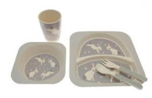 Children's Rabbit 5 Piece Kids Bamboo Dinner Set Natural Eco-Friendly Dishwash