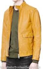 New Celebrity Yellow LEATHER SKIN BIKER JACKET For Dashing Looking Men M608