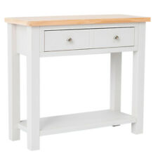 Farrow Grey Console Table Painted Solid Wood Large Hall Telephone Storage Drawer