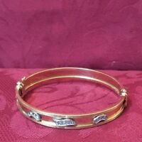Gold And Diamond Bangle Bracelet 14k yellow gold