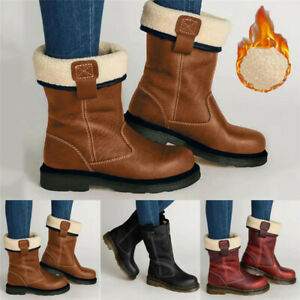 Women Waterproof Warm Mid Calf Snow Boots Winter Foldable Fur Lined Riding Shoes