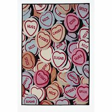 5 X Love Hearts Multi Coloured Nylon Rug 160cm X 100cm