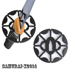 Zinc Alloy Black Tsuba Hand Guard For Japanese Samurai Sword Katana Wakizashi