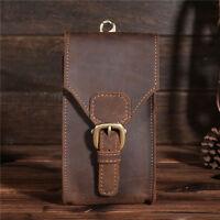Men Vintage Genuine Leather Summer Belt Small Waist Bag Hook Phone Travel Pouch