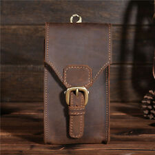 Men Vintage Genuine Leather Summer Belt Small Waist Bag Hook Phone Travel Pouch