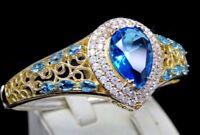 Turkish Handmade 925 sterling silver Authentic Aquamarine Ladies Bracelet