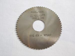 Scheibenfräser , Metall- Kreissägeblatt  80 x 0,6  mm , 64 Zähne , HSS