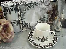 2 Cup 2 saucer damask design Espresso Coffee gift set Shower Favor Wedding Favor