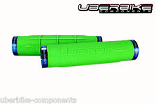 Uberbike Fat Grip 150mm Lock on mountain bike Handlebar Grips Green/Blue