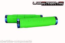 Uberbike Fat Grip 150mm Lock on mountain bike Handlebar Grips Green/Blue