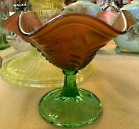 Vintage Northwood Green Carnival Glass Compote Daisy & Plume Pattern Mixed Color