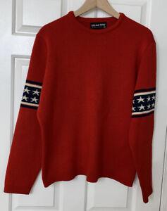 DEMETRE red blue stars wool vintage ski crewneck sweater LARGE