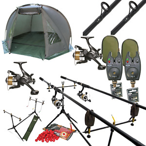 FULL CARP FISHING 2 ROD SET UP WITH DAY BIVVY SHELTER - RODS REELS POD ALARMS
