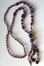 Real Amethyst and Purple Glass Beads Sautoir Necklace with Rhinestone  Rondelle e27a19966e59