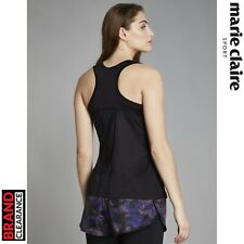 Marie Claire Skip Camo Printed Vest Black Running Fitness Top Womens RRP: £44.99