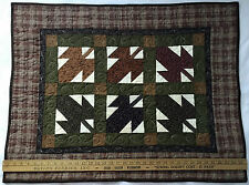 Handmade Machine Quilted Wall Hanging pieced patchwork Fall Leaves 35 x 27.5""