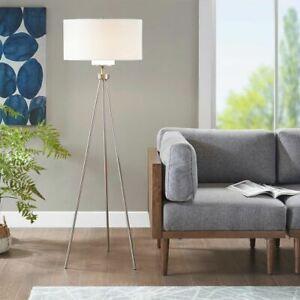 Luxury Tripod Silver Floor Lamp Brushed Nickel Tripod Stand w/Shade