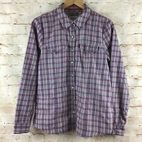 Orvis Passport Women's Pink Gray Snap Button Down Blouse Top 10