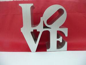 "Robert Indiana LOVE Sculpture Vintage 3"" Brushed Aluminum"