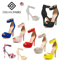 DREAM PAIRS Women Ankle Back Zipper Peep Toe High Heel Platform Dress Pump Shoes