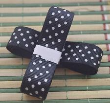 "Black 3yds 5/8"" (15 mm)Printed Party Polka Dot Grosgrain Ribbon!"
