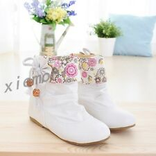 Womens Pull On Floral Flat Sweet Ankle Boots Bowknot Fashion Casual Oxford Shoes