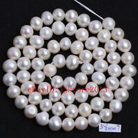 """5-6mm Natural White Nearly Round Cultured Pearl Gemstone Loose Beads Strand 15"""""""