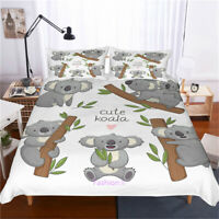 Grey Koala Doona/Duvet/Quilt Cover Set Single/Double/Queen/King Size Bed Linen