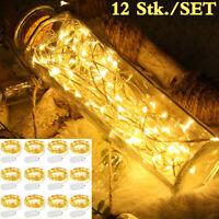 12X LED Lichterkette Kupferdraht Außenbereich Weihnachtsdeko Flaschenbeleuchtung