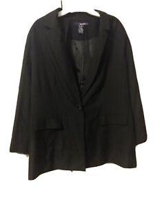 Denim 24/7 Women Plus Size Boyfriend Jacket Blazer Black 20W