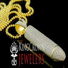 Yellow Gold Sterling Silver Simulated Diamond Gun Bullet Pendant Charm Chain Set