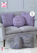 Easy Knit Home Décor Chunky Knitting Pattern Cushion Covers King Cole 5193