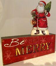 Christmas BE MERRY Santa LED Table Decor Lights Up Battery Timer 2 pc set