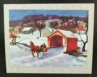 Ranulph Bye Mid Century Christmas Card, Covered Bridge, Horse & Sleigh, Unused