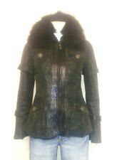 Gigli's Designer Ladies Sheepskin stylish jacket with fur collar faux crocodile