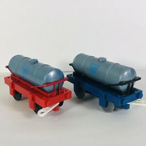 Thomas Train Water Tankers Trackmaster lot of 2 Blue Base Red Base