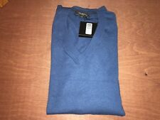 SAKS FIFTH AVENUE Cashmere Men's V Neck Knitted Sweater Sapphire XL X-Large New