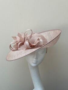 Pale Pink Shimmer Saucer Fascinator  / Hatinator/ Hat JB161