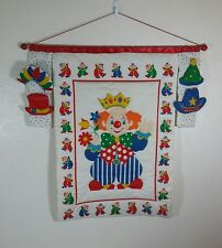 Vintage Quilted Fabric Wall Hanging Nursery Clown with Interchangeable Hats