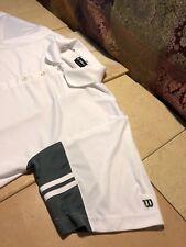 Wilson Men's Polo Golf Short Sleeve Shirt Size:Large 100% Polyester White Green