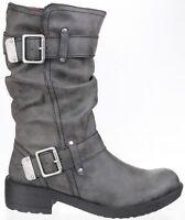 Rocket Dog Trumble Biker Boots Womens Side Zip Fashion Buckle Shoes Ladies