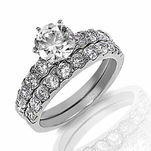 Brilliant Cut Groove Engagement Wedding Bridal CZ Silver Ring Set Sizes 3 - 12