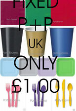 Party Tableware - Plates,Cups,Napkins,Table covers 21 colours ..UK P+P £1 FIXED