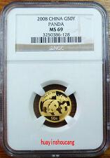 2008 China 1/10oz G50Y gold panda coin NGC MS69