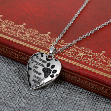 Pet Memorial Necklace Antique Silver Black Dog's Paw Heart Black Rhinestones